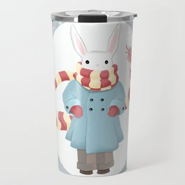 Bunny Brother Out On A Winter Day Travel Mug
