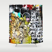 alisa burke Shower Curtains featuring big messy yellow flower by Alisa Burke