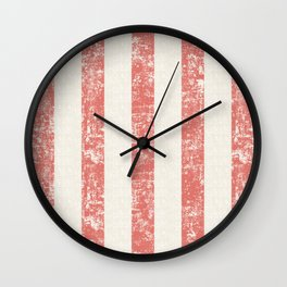 Maritime Beach Pattern- Red and White Stripes- Vertical Wall Clock