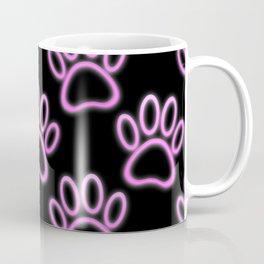 Pink Neon Dog Paw Print Coffee Mug