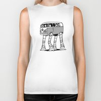 volkswagon Biker Tanks featuring VW Minibus AT-AT Walker by robotface