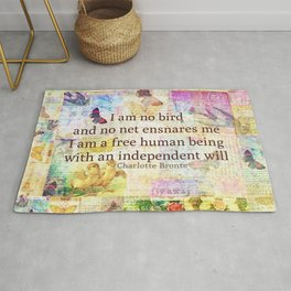 Charlotte Bronte independence quote Rug