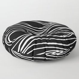 Abstract Swirling Waves / Black and White Floor Pillow