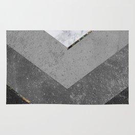 Marble Gray Copper Black Gold Chevron Rug