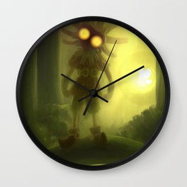 Skull kid in forest Wall Clock