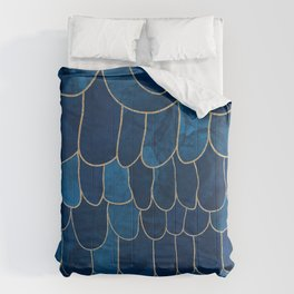 Stratosphere Sapphire // Abstract Blue Flowing Gradient Gold Foil Cloud Lining Water Color Decor Comforters