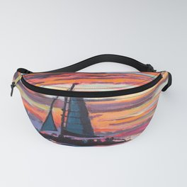 Caribbean Sunset With Sailboat Fanny Pack