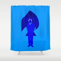 karl Shower Curtains featuring Karl Stromberg by Vector Vectoria