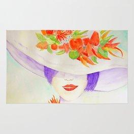 Watercolor Chilli Girl Fashion, Chilli Hat Rug