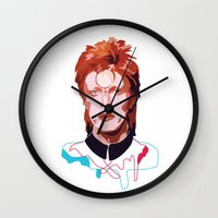 bowie Wall Clocks featuring Bowie by Anna McKay