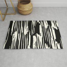 Modern Tribal Stripe Ivory and Black Rug
