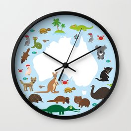 map of Australia. Echidna Platypus ostrich Emu Tasmanian devil Cockatoo parrot Wombat snake turtle Wall Clock