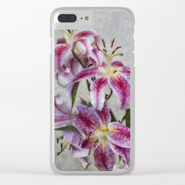 Pink Lillies Clear iPhone Case