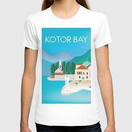 Kotor Bay, Montenegro - Skyline Illustration by Loose Petals T-shirt