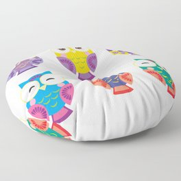 bright colorful owls on white background Floor Pillow