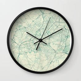 Lille Map Blue Vintage Wall Clock