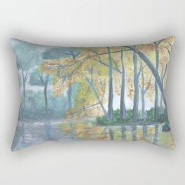 Spring Trees Reflecting Over Lake Rectangular Pillow