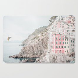 Positano, Italy pink-peach-white travel photography in hd. Cutting Board