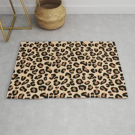 Leopard Print, Black, Brown, Rust and Tan Rug
