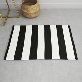 Midnight Black and White Vertical Cabana Tent Stripes Rug