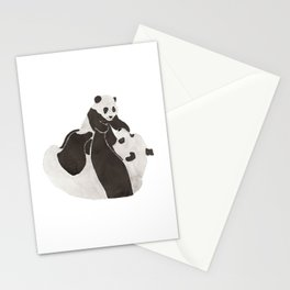 Mother and baby panda playing Stationery Cards