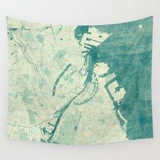 Copenhagen Map Blue Vintage Wall Tapestry