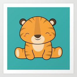Kawaii Cute Baby Tiger Art Print