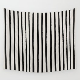 Vertical Black and White Watercolor Stripes Wall Tapestry