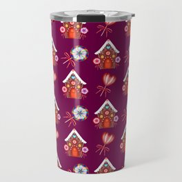Lovely magical gingerbread houses, colorful sweet candy lollipops. Retro vintage Christmas pattern Travel Mug