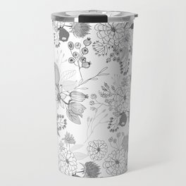 Modern elegant black white rustic floral illustration Travel Mug
