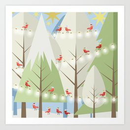 Holiday Winter Scene with Red Bird Santas and Glowing Lights in a Christmas Tree Forest Art Print