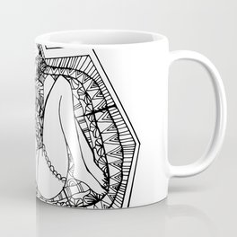 Inktober Tranquil Zentangle Girl and Fox Coffee Mug