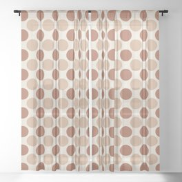Cavern Clay SW 7701 and Ligonier Tan SW 7717 Uniform Large Polka Dot Pattern 1 on Creamy Off White Sheer Curtain