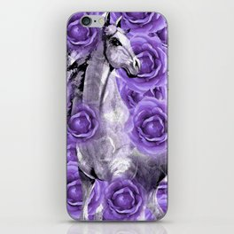 HORSES AND PURPLE ROSES AND HORSES iPhone Skin