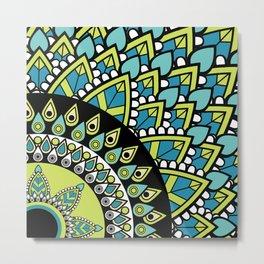 Petrichor Blue & Green Leaf Patterned Mandala Metal Print