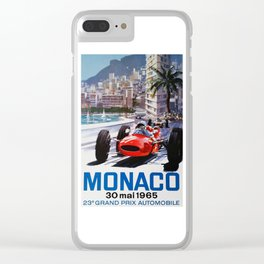Grand Prix Monaco, 1965, vintage poster, race poster Clear iPhone Case