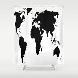 World Map in Black Shower Curtain