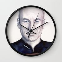 picard Wall Clocks featuring Captain Picard by Olechka