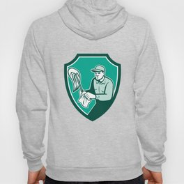 Janitor Cleaner Holding Mop Cloth Shield Retro Hoody