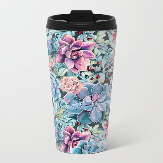 Succulents - For the Memory of a Never-ending Love Metal Travel Mug