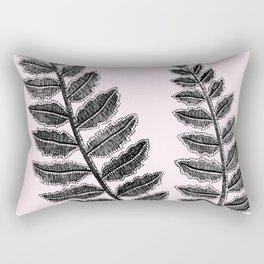 Black Lace Fern Blush Pink Rectangular Pillow