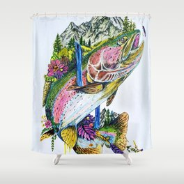 'O. MYKISS MTN.' Rainbow Trout - Original Mountain Art Drawing Shower Curtain