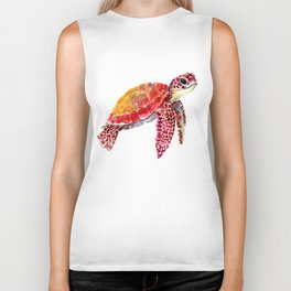 Baby Turtle decor, nursery art decor children room orange red Biker Tank