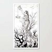 tarot Canvas Prints featuring Tarot - Temperance by Zsofia Dome