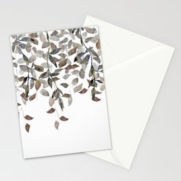 Leaf Cascade Linen Texture Neutral Stationery Cards