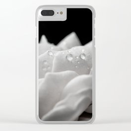 Floral Nature Photography - Delicate Rose with Water Droplets - Black and White Clear iPhone Case