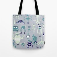 monsters Tote Bags featuring Monsters! by Fran Court