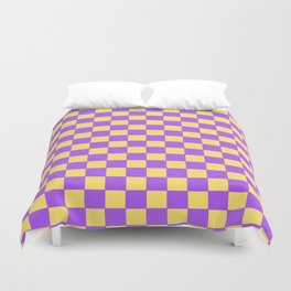Checkers - Purple and Yellow Duvet Cover