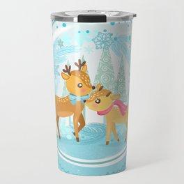 Winter Wonderland Reindeer Snow Globe Travel Mug