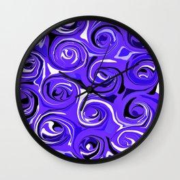 Bright Blue Violet Swirls Wall Clock